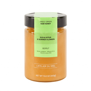 Jar containing eucalyptus Beirut raw honey.
